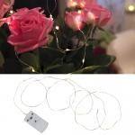 Гирлянда нить 1м теплобелая Белые капли кабель прозрачный батарейки 12диодов LED